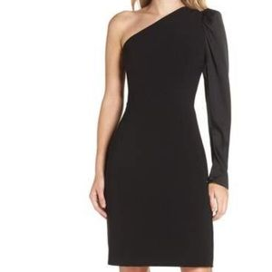 Eliza J One-Shoulder Sheath Black Dress